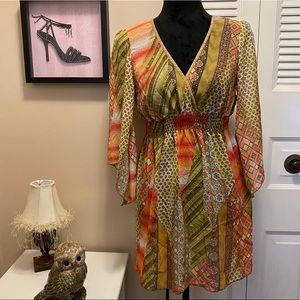 Funkadelic Semi Sheer Boho Tunic Blouse or Dress